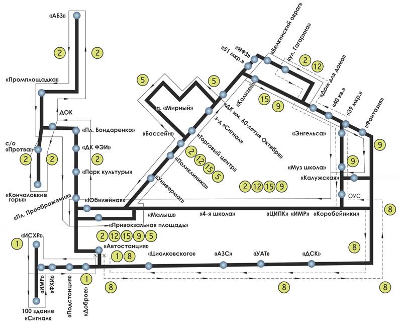 Схема автобусов обнинск
