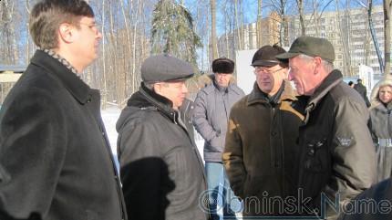 Мэр Обнинска Александр Авдеев и Губернатор Калужской области Анатолий Артамонов на стройплощадке ледового дворца.