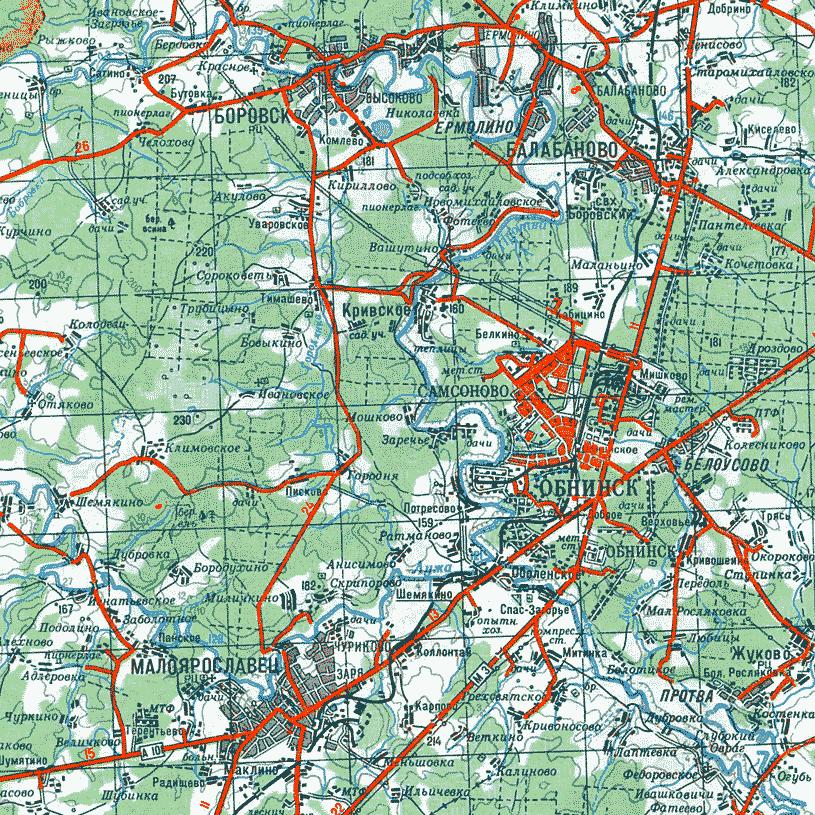 Обнинск. Карта окрестностей